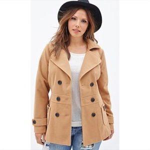 Forever 21+ Pea Coat Tan Size 1X